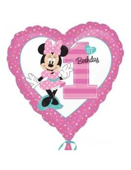 Palloncino Minnie Mouse Cuore Primo Compleanno