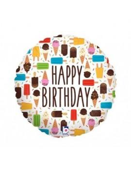 Mini Palloncino Tondo Happy Birthday Gelati