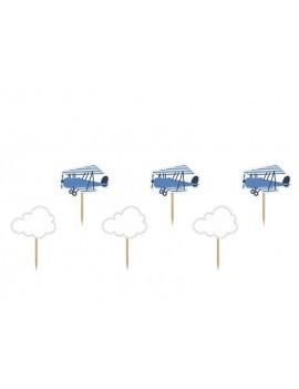 Picks Toppers Nuvolette e Aeroplano (6 pz)