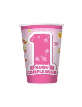 Bicchieri Rosa Primo Compleanno da 200 ml (8 pz)