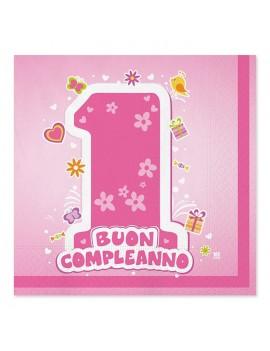 Tovaglioli Rosa  Primo Compleanno (20 pz)