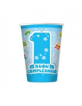 Bicchieri Celesti Primo Compleanno da 200 ml (8 pz)