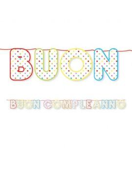 Festone Buon Compleanno Multicolor a Pois