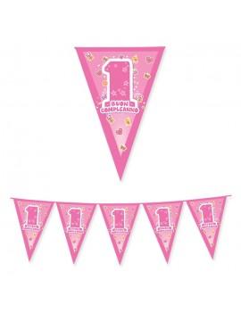 Festone Bandierina 1 Compleanno One Pink
