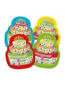 Piatti Buon Compleanno torta Mix 20 x 24 cm (8 pz)