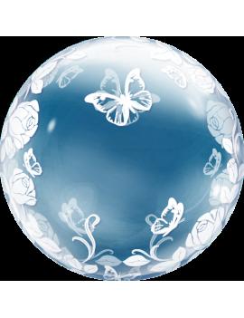 "Palloncino Mylar Bubble Trasparente con Rose e Farfalle da 24"""