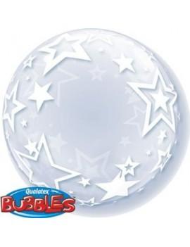 """Palloncino Mylar Bubble Trasparente con Stelle 24"""""""
