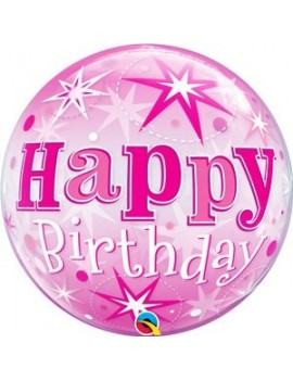 Palloncino Mylar Bubble Happy Birthday Pink 22""