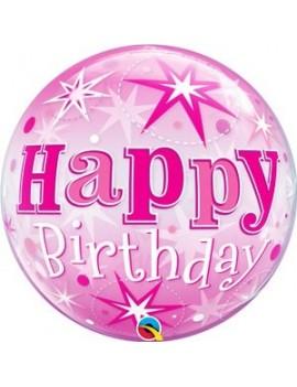 "Palloncino Mylar Bubble Happy Birthday Pink 22"""