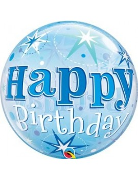 Palloncino Mylar Bubble Happy Birthday Blue 22""