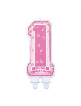 Candela 1° Compleanno Rosa One Pink Sagomata