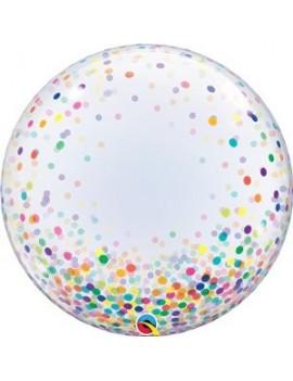 """Palloncino Bubble Trasparente Con Confetti Multicolor 24"""""""