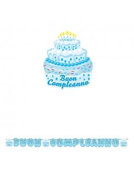 Festone Torta Buon Compleanno Celeste