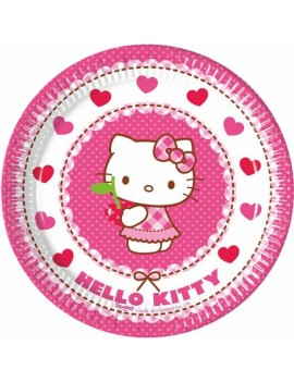 Piattini di Carta Hello Kitty Heart da 20 cm (8 pz)
