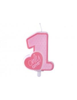 Candela 1° Compleanno Rosa con Cuore