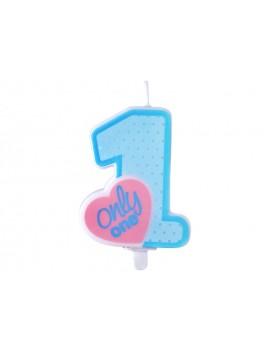 Candela 1° Compleanno Celeste con Cuore