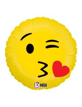 "Palloncino Mylar Emoji Kiss 18""/46 cm"
