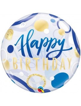 Palloncino Mylar Bubble Cerchi Happy Birthday Blue 22""