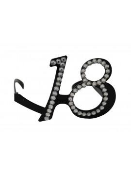 Occhiali Numero 18 Neri con Brillantini
