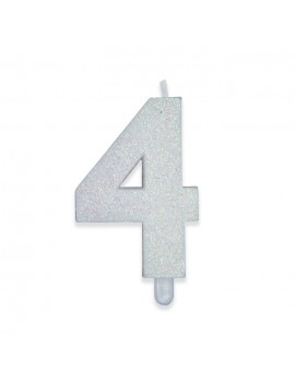 Candelina Sweety Bianco Glitter Numero 4