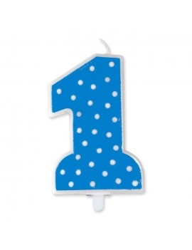 Candelina Pois Blu Numero 1