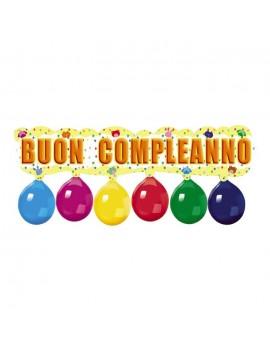 Striscione Buon Compleanno con Palloncini