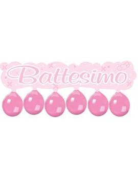 Festone Battesimo con Palloncini Rosa