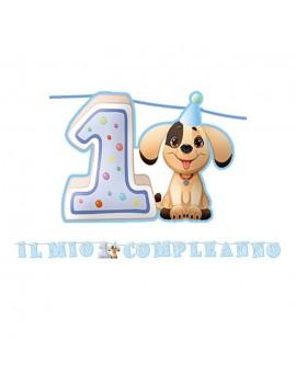Festone Maxi 1 Compleanno Celeste