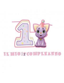 Festone Maxi 1 Compleanno Rosa