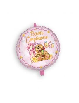 Palloncino Tondo 1 Compleanno Rosa