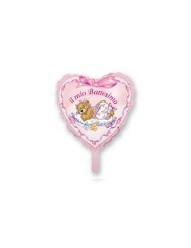 Palloncino Mini Cuore Battesimo Rosa