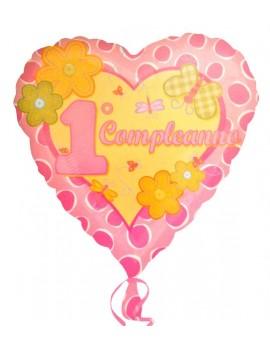 Palloncino Cuore Rosa Primo Compleanno