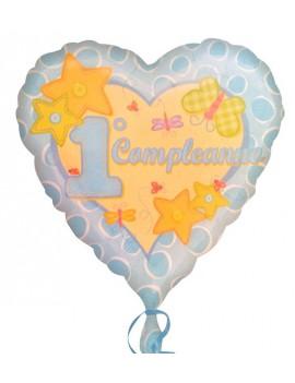 Palloncino Cuore Celeste Primo Compleanno