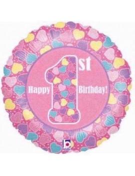Palloncino Tondo Rosa Primo Compleanno