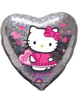 Palloncino Cuore Hello Kitty Olografico