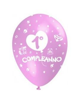 Palloncini 1° Compleanno Rosa
