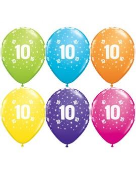 Palloncini Numero 10 Multicolor