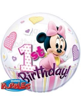 Palloncino Bubble Minnie Mouse 1° Compleanno