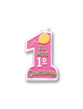 Candela 1° Compleanno Rosa