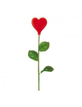 Candelina Rosa Cuore Rosso Stelo Lungo