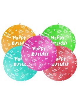 Palloni Giganti Happy Birthday Multicolor (4 pz)