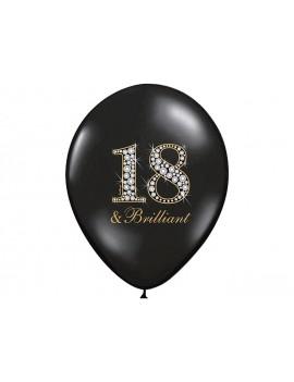 """Palloncini 14"""" Neri Con Numero 18"""