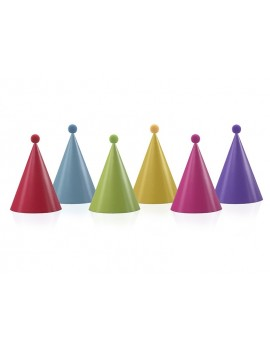 Cappelli di Carta Assortiti con Pompom (6 pz)