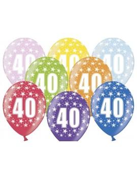 """Palloncini 14"""" Multicolor Numero 40"""