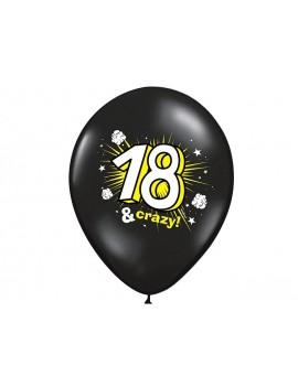 """Palloncini 14"""" Neri Con Numero 18 Crazy"""