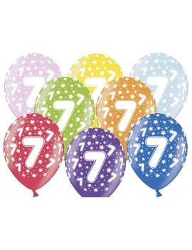"""Palloncini 14"""" Multicolor Numero 7"""