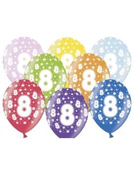 """Palloncini 14"""" Multicolor Numero 8"""