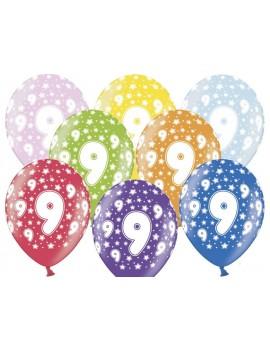"""Palloncini 14"""" Multicolor Numero 9"""