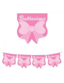Festone Bandierine in Plastica Battesimo Rosa