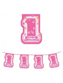 Festone Bandierine in Plastica 1° Compleanno Rosa